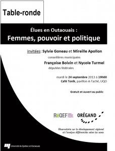 AFFICHE_élues en Outaouais_24 septembre 2013